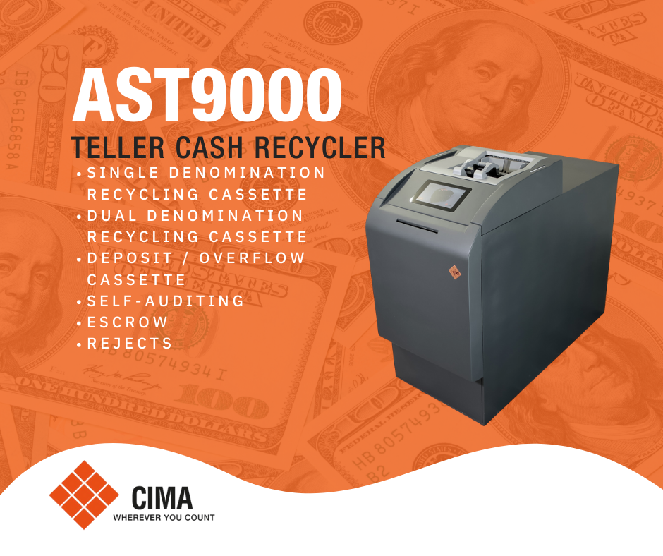 Product description of the CIMA AST9000 teller cash recycler