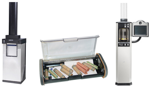 NCR service company, Image of pneumatic tube and drive-up systems for banks