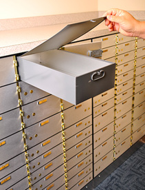 NJ ATM service, Image of wall of safe deposit boxes with person opening one box