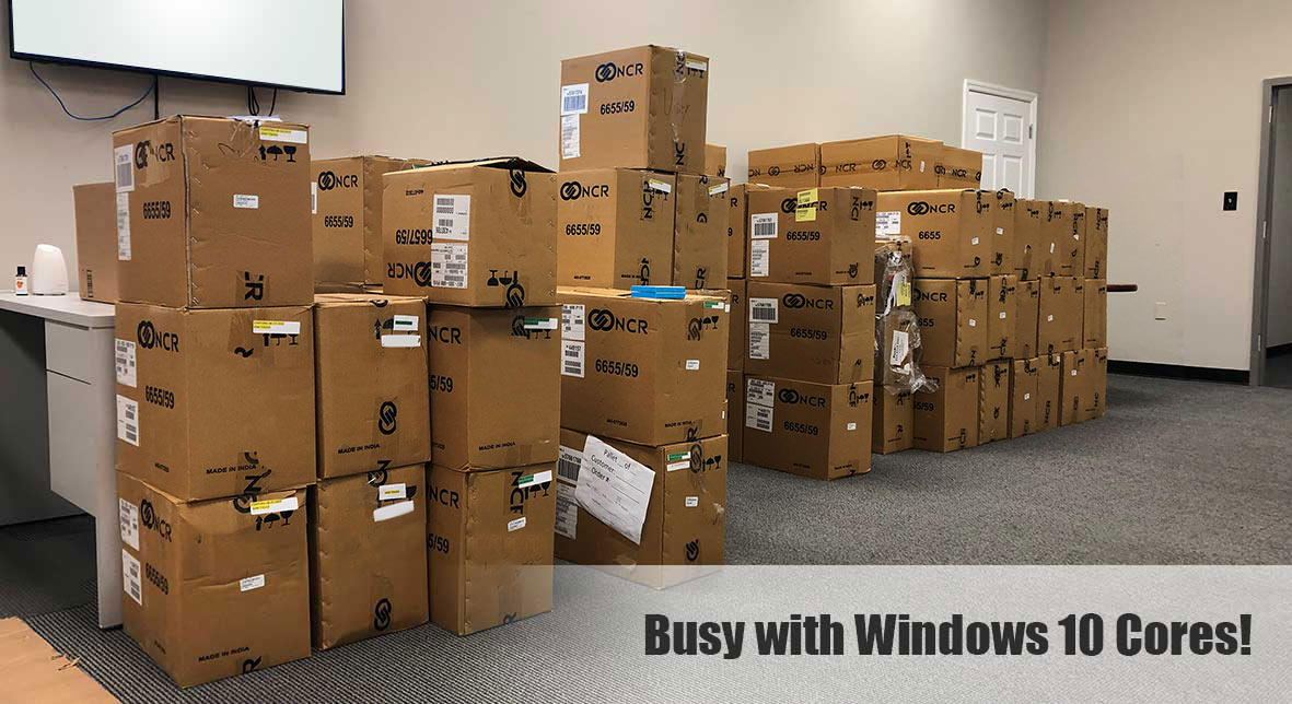 ATM maintenance contracts, Warehouse storing many boxes of Windows 10 cores
